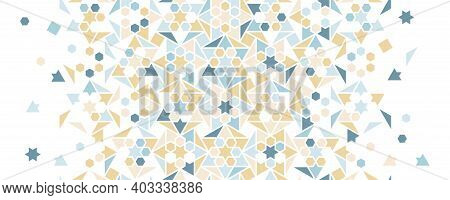Pastel Blue Arabesque Vector Seamless Background. Geometric Halftone Texture With Color Tile Disinte