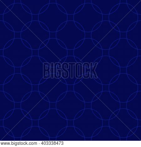 Seamless Abstract Intersecting And Repeating Modern Blue Circles.