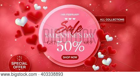 Valentines Day Big Sale Banner Background For Web-site Header. Red Hearts. Cute Love Banner Or Valen