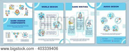 Game Design Components Brochure Template. World Building, Game Writing. Flyer, Booklet, Leaflet Prin