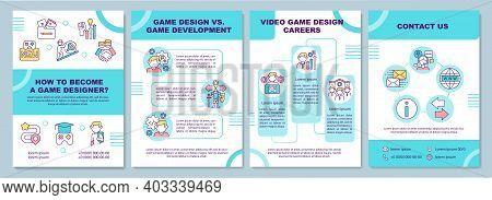 Game Designer Becoming Brochure Template. Game Development, Career. Flyer, Booklet, Leaflet Print, C