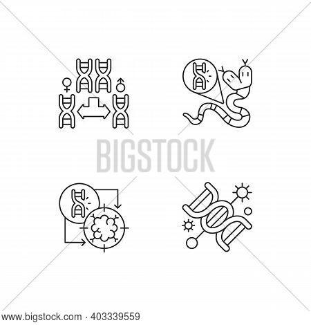 Dna Manipulation Linear Icons Set. Chromosome Division. Genetic Mutation. Gene Silencing. Customizab