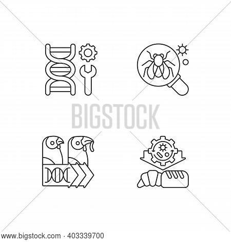 Biotechnology Linear Icons Set. Model Organism. Genetic Engineering. Industrial Biotechnology. Custo