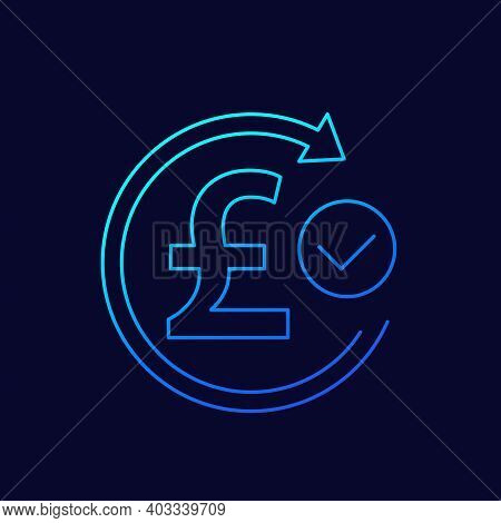 Exchange, Refund Icon With Pound, Thin Line Vector
