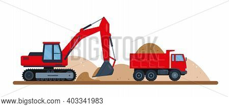 Red Excavator Digs Soil And Puts It In Dump Truck. Construction Machinery. Vector Illustration Isola