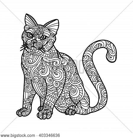 Antistress Coloring Book Page With Ornate Patterns, Cat With Lines And Waves, Cute Mammal Coloring B