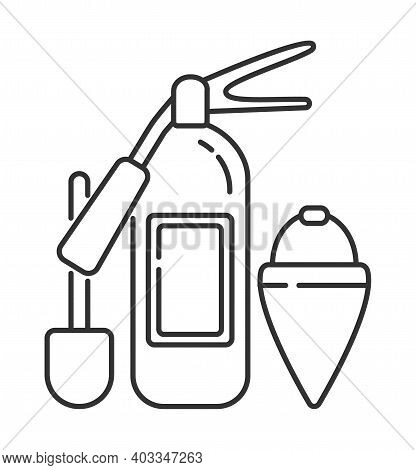 Fire Extinguisher Icon Vector In Outline Style. Elements Of Extinguish Fire, Shovel, Flare Bucket