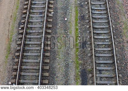Railways. Rails On Top. Empty Rails. Top View