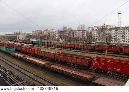 A Lot Of Rail Cars. Car Parking On Rails.