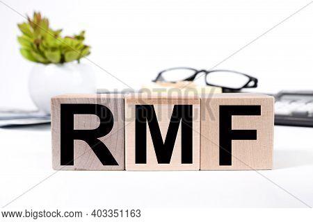 Rmf, Text On Wood Blocks, Cubes, White Background