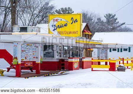 Taylors Falls, Minnesota - January 9, 2021: Classic, Retro Drive In Restaurant, Taken In Winter, Clo