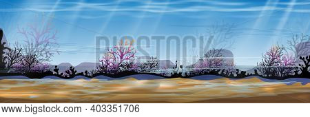 Underwater Sea With Wave In Deep Blue On The Island,panorama Bottom Of Ocean With Sun Ray Shining,si