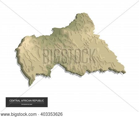 Central African Republic Map - 3d Digital High-altitude Topographic Map. 3d Vector Illustration. Col