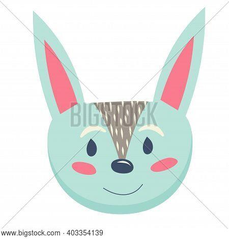Scandinavian Hugge Cute Animals, Rabbit, Hare Head Isolated On White Background. Vector Illustration