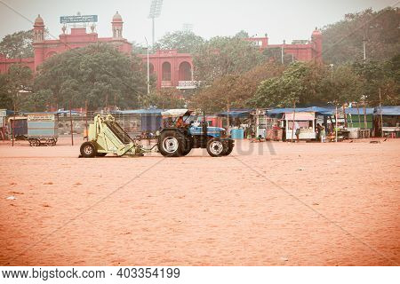 Chennai, Tamil Nadu, India - January 13 2021: View Of The Machinery Used In Cleaning The Beach Sand
