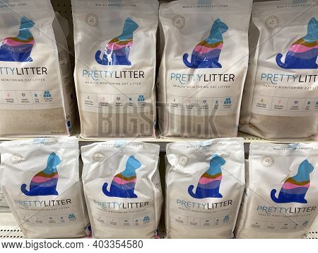 Lino Lakes, Minnesota - January 4, 2021: Pretty Litter Brand Kitty Litter On Display At A Target Sto
