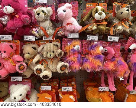 Lino Lakes, Minnesota - January 4, 2021: Display Of Valentine's Day Themed Plush Stuffed Animals And