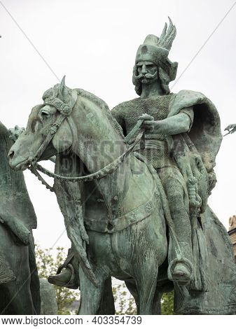 Budapest, Hungary- May, 27, 2019: Close Up Of One Of The Seven Chieftains Of The Magyars Statues At