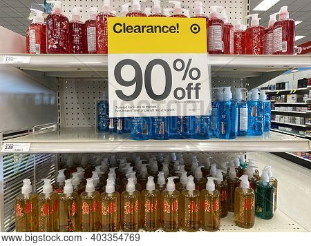 Lino Lakes, Minnesota - January 4, 2021: Leftover Christmas Themed Soap And Hand Sanitizer For Sale
