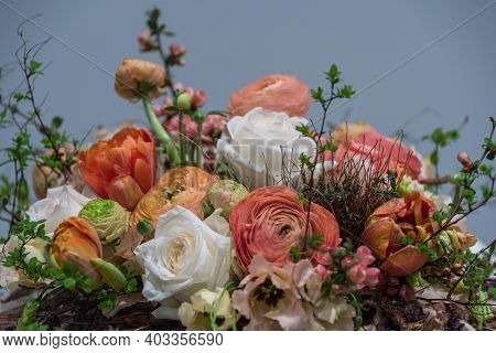 Orange-white Bouquet With Roses And Ranunculus - Close-up