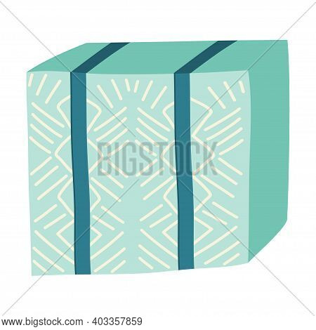 A Closed Delivery Box In Scandinavian Hug Style Is Isolated On A White Background. Handdraw Style, A