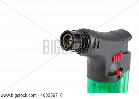 Clear Green Plastic Gas Lighter. Gas Lighter Isolated On White Background. Close Up Gas Burner. Ther