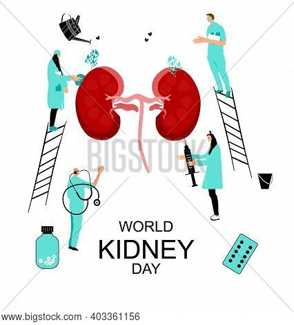 World Kidney Day Concept.doctors Protect,care And Treat Human Organ.medical Equipment. Pyelonephriti