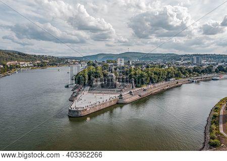 Koblenz, Germany - Aug 1, 2020: Aerial Drone Shot Of Deutsch Eck Headland By Rhine Mosel River In Ko