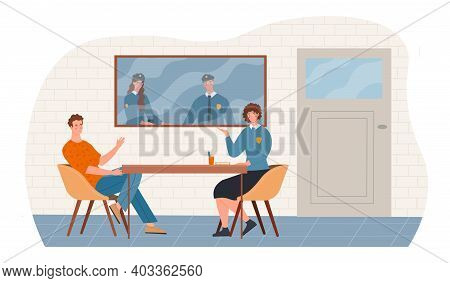 Female Police Officer Is Talking To A Suspect In Interrogation Room At Police Station. Male And Fema