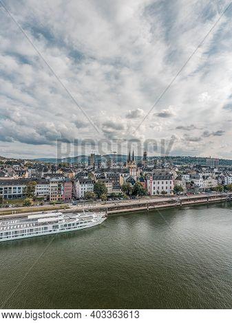 Koblenz, Germany - Aug 1, 2020: Aerial Drone Shot Of Quai On Deutsch Eck By Rhine Mosel River In Kob