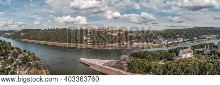 Panoramic Aerial Drone Shot Of Deutsch Eck Headland By Rhine Mosel River In Koblanz Germany
