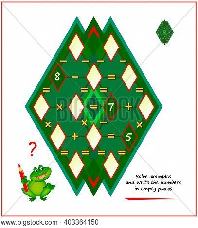 Mathematical Logic Puzzle Game For Smartest. Magic Rhombus. Solve Examples And Write Numbers In Empt