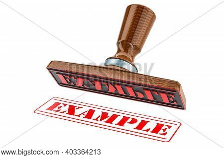 Example Stamp. Wooden Stamper, Seal With Text Example, 3d Rendering Isolated On White Background
