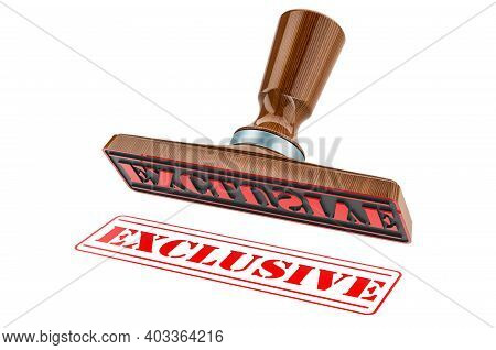 Exclusive Stamp. Wooden Stamper, Seal With Text Exclusive, 3d Rendering Isolated On White Background