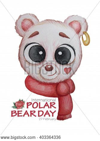 Portrait Of A Polar Bear With An Earring In The Ear With A Scarf And Flowers. Greeting Card For The