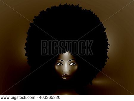 Sexy Portrait Of African American Woman, Dark Skin Female Face With Beautiful Traditional Black Afro