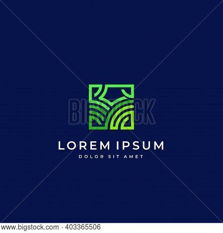 Farm Land Logo Field Icon With Linear Line Logotype.