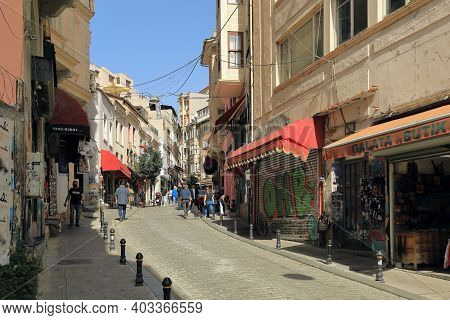 Istanbul, Turkey - October 07, 2020. Galip Dede Street, Known For Its Music Shops. Beyoglu District,