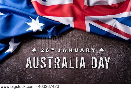 Happy Australia Day Concept. Australian Flag Against Old Stone Background. 26 January.