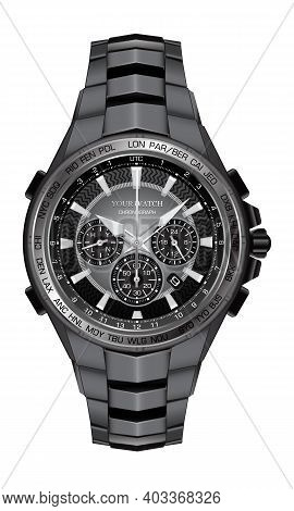 Realistic Watch Clock Chronograph Steel Black Face For Men Design Luxury On White Background Vector