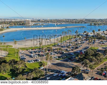Aerial View Of Mission Bay And Beaches In San Diego, California. Usa. Community Built On A Sandbar W