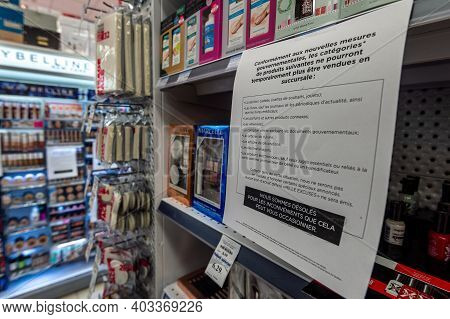 Montreal, Ca - 14 January 2021: Items Unavailable For Sale In A Supermarket As They Are Deemed 'non-