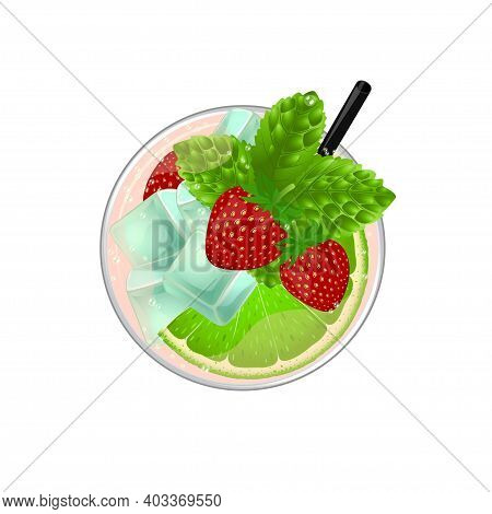 Mojito Cocktail With Lime, Mint, Strawberry And Ice Top View. Cold Alcoholic Or Non-alcoholic Long D