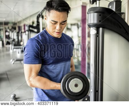 Young Man Training With Dumbbell In The Gym