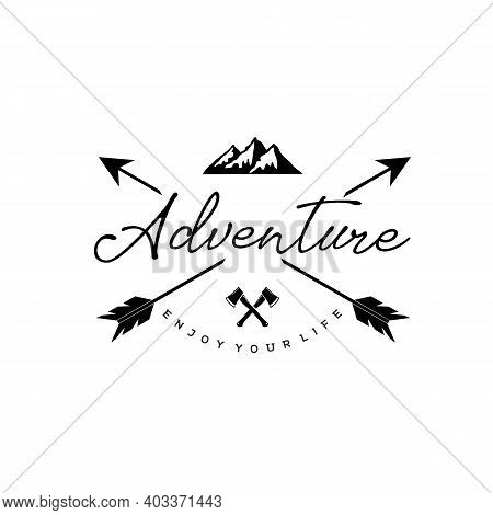 Adventure Lettering Logo With Arrows And Bonfire. Hipster Logo Style. Vector Illustration