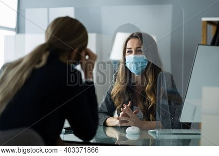 Job Interview Or Insurance Agent Meeting With Mask And Sneeze Guard