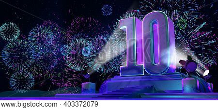 Number 10 In Solid And Thick Shape On A Purple Pedestal With The Appearance Of A Monument Illuminate