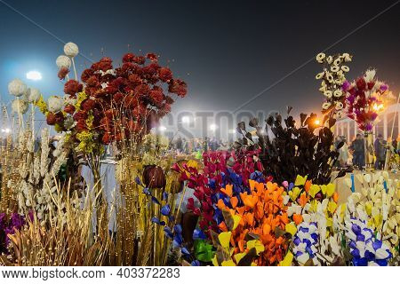 Thermocol Made Artificial Colored Flowers And Plants, Handicrafts For Sale In Handicraft Fair In Kol