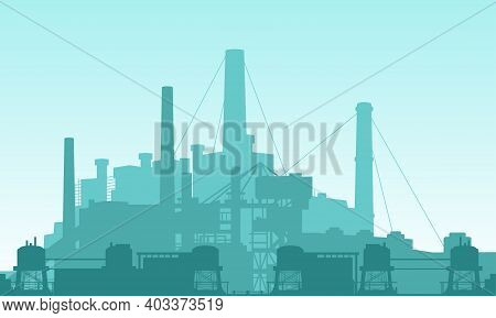 Vector Illustration Of A Chemical Factory Complex. Suitable For Backgrounds From Power Companies, Ch