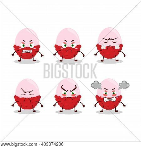 Slice Of Lychee Cartoon Character With Various Angry Expressions